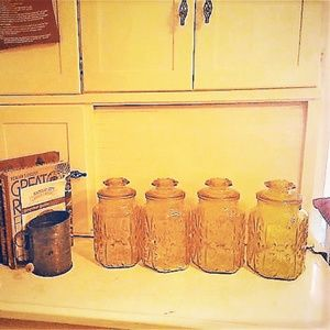 Vintage Amber Glass Canister Set of Four